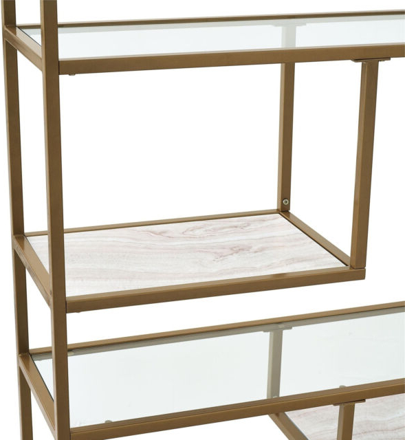 Well Liked Mckibben Geometric Bookcases Pertaining To Bookcase Bookshelves Geometric Etagere Glass Metal Brass Marble Gold Color (View 19 of 20)
