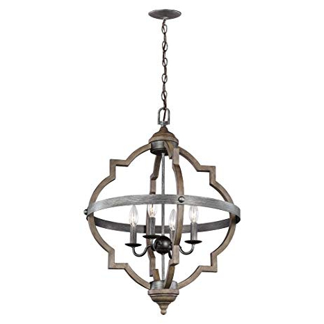 Well Liked Sea Gull Lighting 5124904 846 Socorro Four Light Hall Or Foyer Light  Fixture, Stardust Finish For Donna 4 Light Globe Chandeliers (View 29 of 30)