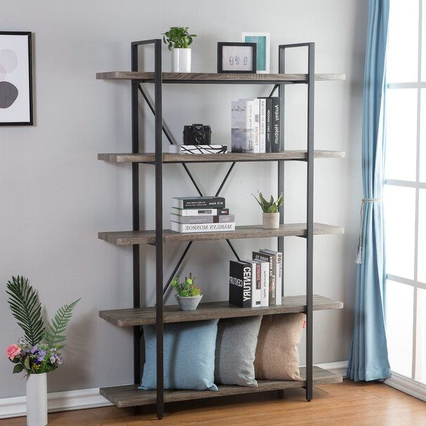 Well Liked Thea Blondelle Library Bookcases For Nordheim 5 Shelf Industrial And Rustic Etagere Bookcase (View 16 of 20)
