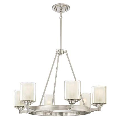 Westinghouse Lighting 6330700 Glenford Six Light Indoor Chandelier, Brushed Nickel Finish With Frosted Inner And Clear Glass Outer Shades, 6 Inside Famous Lyon 3 Light Unique / Statement Chandeliers (View 27 of 30)
