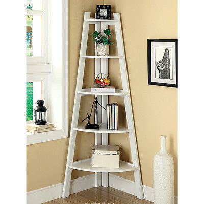 White 5 Shelf Corner Ladder Bookcase Etagere Dorm Living Room Furniture  Office (View 20 of 20)