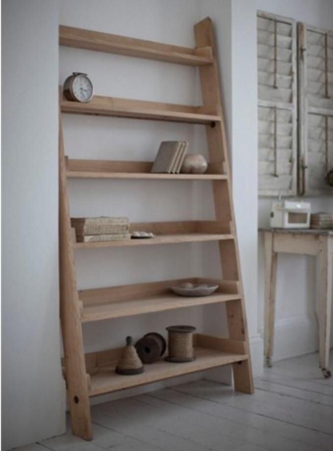 Wide Ladder Bookcases With Most Up To Date Light Raw Oak Wide Shelf Ladder (Bookcase) (View 17 of 20)