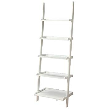 Widely Used Alfred Ladder Bookcases Throughout Amazon: Ehemco 5 Tier Leaning Ladder Book Shelf In White (View 19 of 20)