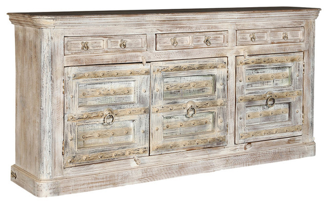 Widely Used Avenal Sideboards Inside Monroe Rustic Solid Wood 3 Door 3 Drawer Extra Large Sideboard Cabinet (View 20 of 20)