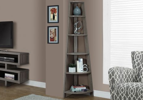 "Widely Used Belcher Corner Bookcases Inside Bookcase – 72""h / Dark Taupe Corner Accent Etagere – Accents (View 19 of 20)"