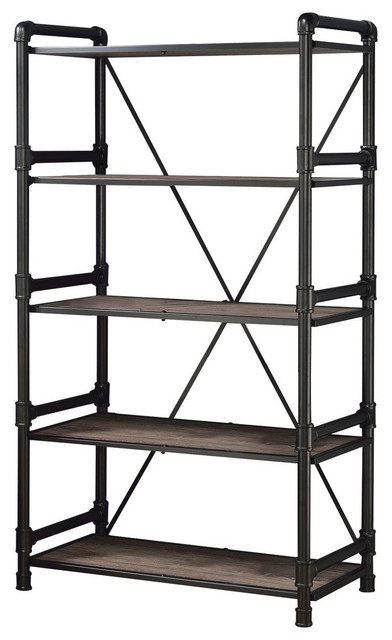 Widely Used Caitlin Bookshelf, Rustic Oak And Black Finish Regarding Caitlyn Etagere Bookcases (View 20 of 20)