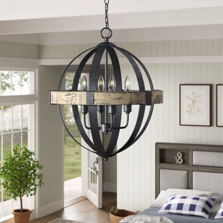Widely Used Donna 6 Light Globe Chandeliers Inside Landwehr 4 Light Chandelier (View 19 of 30)