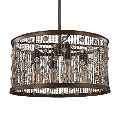 Widely Used Feiss F3045/4Cstb, Colorado Springs Drum Pendant, 4 Light, 300 Total Watts,  Chestnut Bronze Pertaining To Dailey 4 Light Drum Chandeliers (View 30 of 30)
