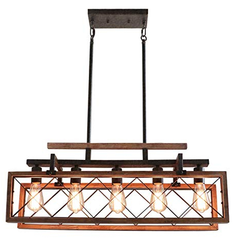 Widely Used Hewitt 4 Light Square Chandeliers In Giluta Rectangle Wood Chandelier Kitchen Island Pendant Lighting Rustic Farmhouse Chandelier Hanging Ceiling Light Fixture 5 Lights Ideal For Dining (View 27 of 30)