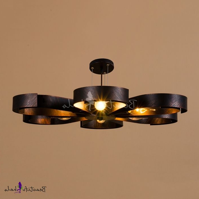 Widely Used Industrial Semi Flush Ceiling Light In Petal Shape Shade, 6 With Regard To Sherri 6 Light Chandeliers (View 21 of 30)
