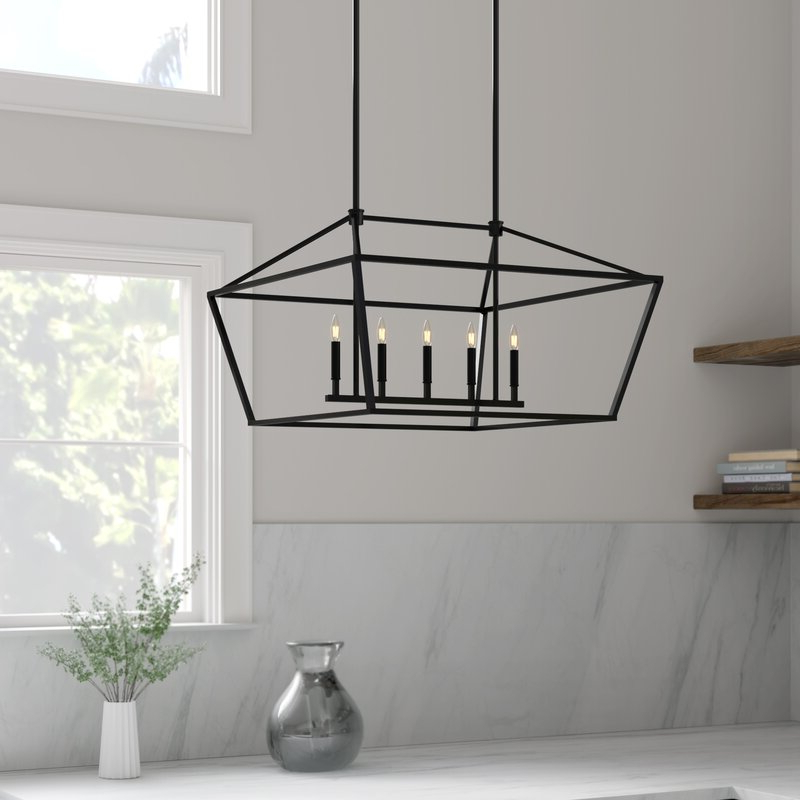Widely Used Poisson Indigo 5 Light Kitchen Island Linear Pendant With Freemont 5 Light Kitchen Island Linear Chandeliers (View 23 of 30)