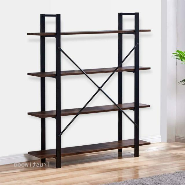 Widely Used Rech 4 Tier Etagere Bookcases For 4 Tier Rustic Bookcase Industrial Bookshelf Grain Wood And Metal Storage  Shelves (View 20 of 20)