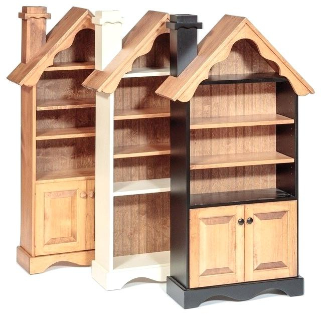 Wood Dollhouse Bookcase Handmade Transitional Kids Bookcases Regarding Trendy Kit Bookcases (View 20 of 20)