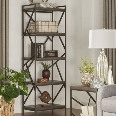 Woodcrest Etagere Bookcases Inside Most Current Mercury Row Derwood Metal Distressed Etagere Bookcase (View 17 of 20)