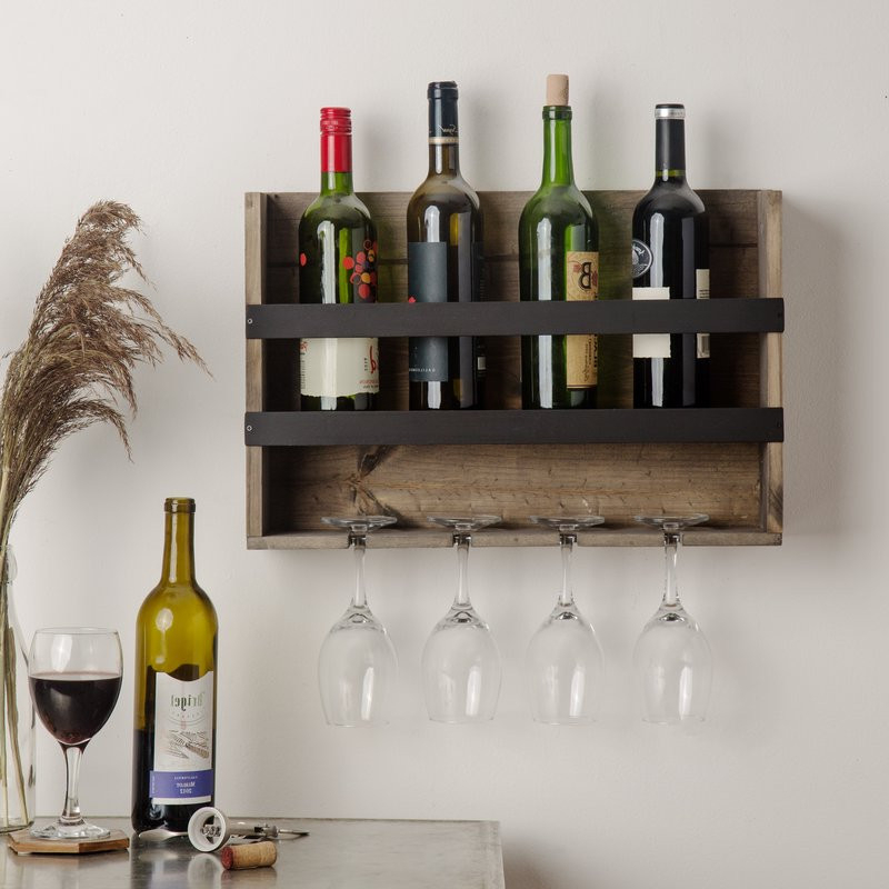 Woodcrest Etagere Bookcases Pertaining To Widely Used 4 Bottle Wall Mounted Wine Rack (View 18 of 20)