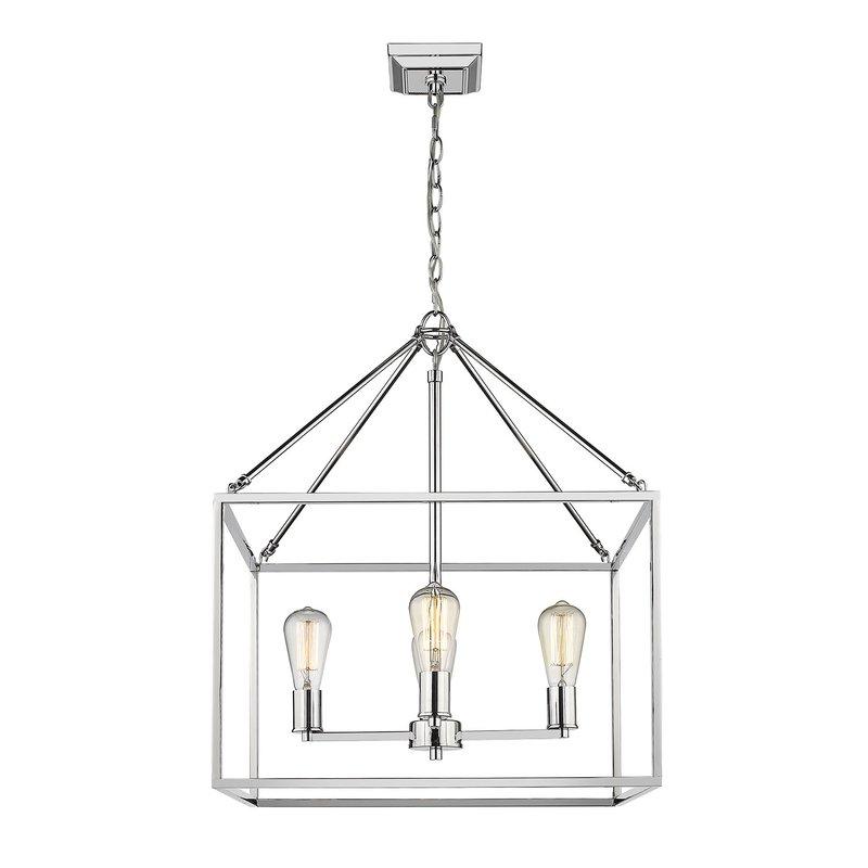 Zabel 4 Light Lantern Square / Rectangle Pendant Inside Most Up To Date 4 Light Lantern Square / Rectangle Pendants (View 30 of 30)