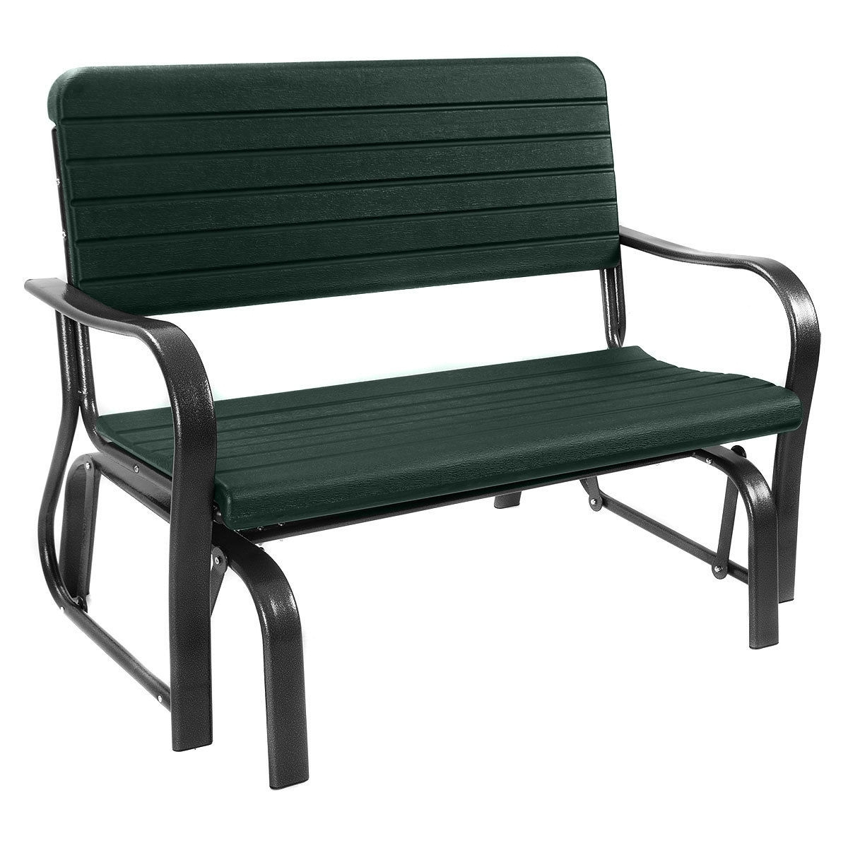 1 Person Antique Black Steel Outdoor Gliders Throughout 2019 Outdoor Patio Steel Swing Bench Loveseat (View 29 of 30)