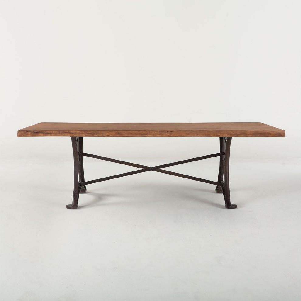 "106"" Dining Table Solid Acacia Wood Raw Walnut Finish Organic Cast Iron Base Intended For Most Recent Acacia Wood Top Dining Tables With Iron Legs On Raw Metal (View 13 of 30)"