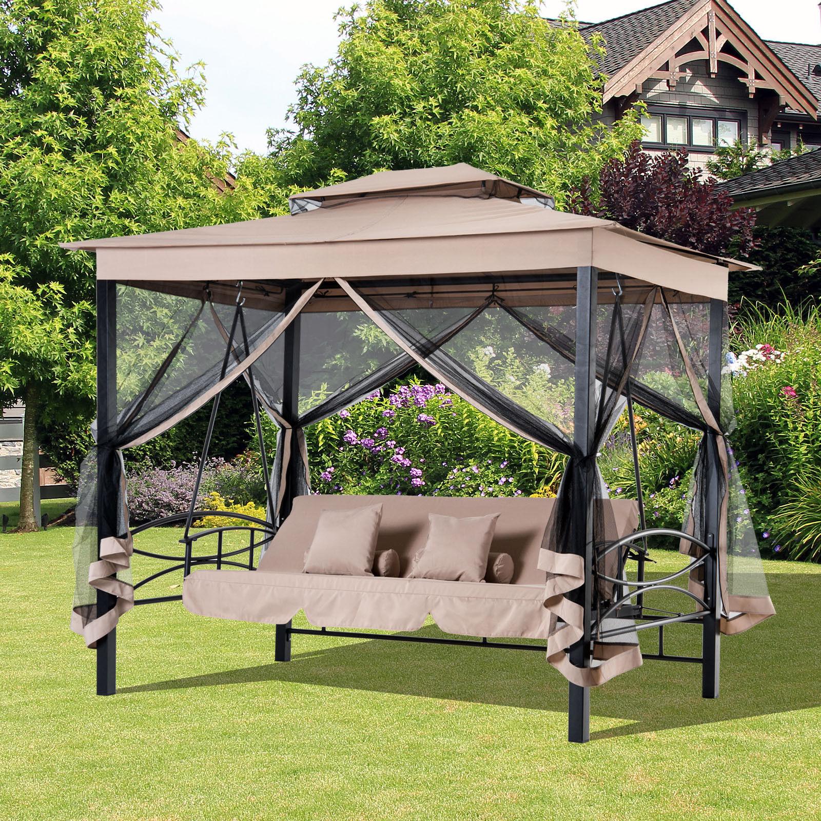 2 In 1 Tree Seater Swing Hammock Gazebo Day Bed Regarding Newest 3 Seat Pergola Swings (View 11 of 30)