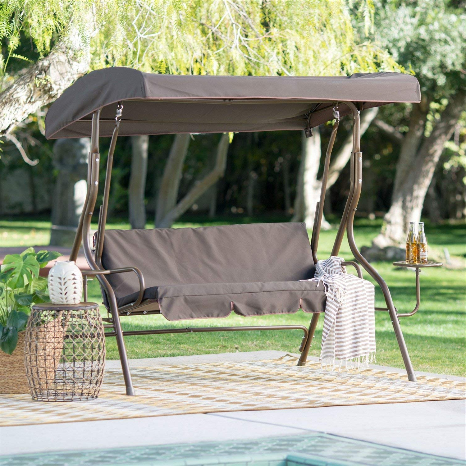 2 Person Adjustable Tilt Canopy Patio Loveseat Porch Swings For 2019 Amazon: Starsun Depot Outdoor Patio 2 Person Porch Swing (View 14 of 30)