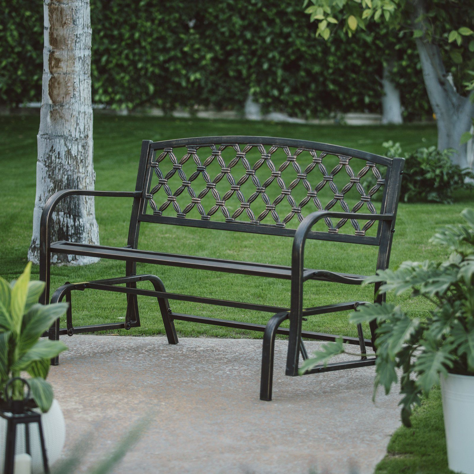 2 Person Antique Black Iron Outdoor Gliders Intended For Preferred Outdoor Coral Coast Crossweave Curved Back 4 Ft (View 20 of 30)