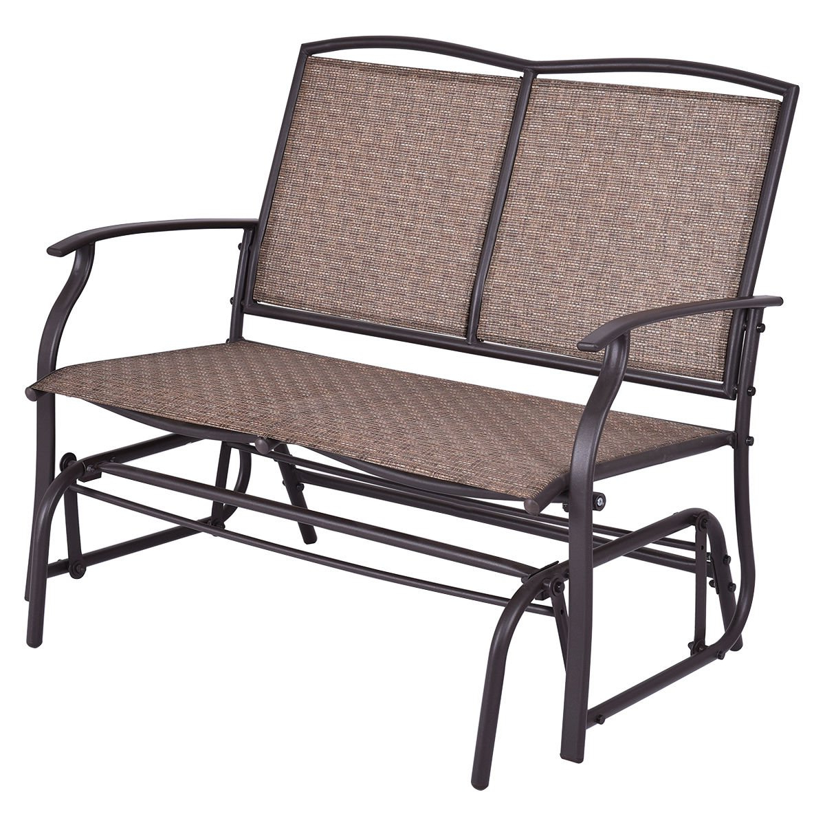 2 Person Antique Black Iron Outdoor Gliders Regarding 2019 Amazon: Maximumstore – Patio Glider Rocking Bench Double (View 7 of 30)