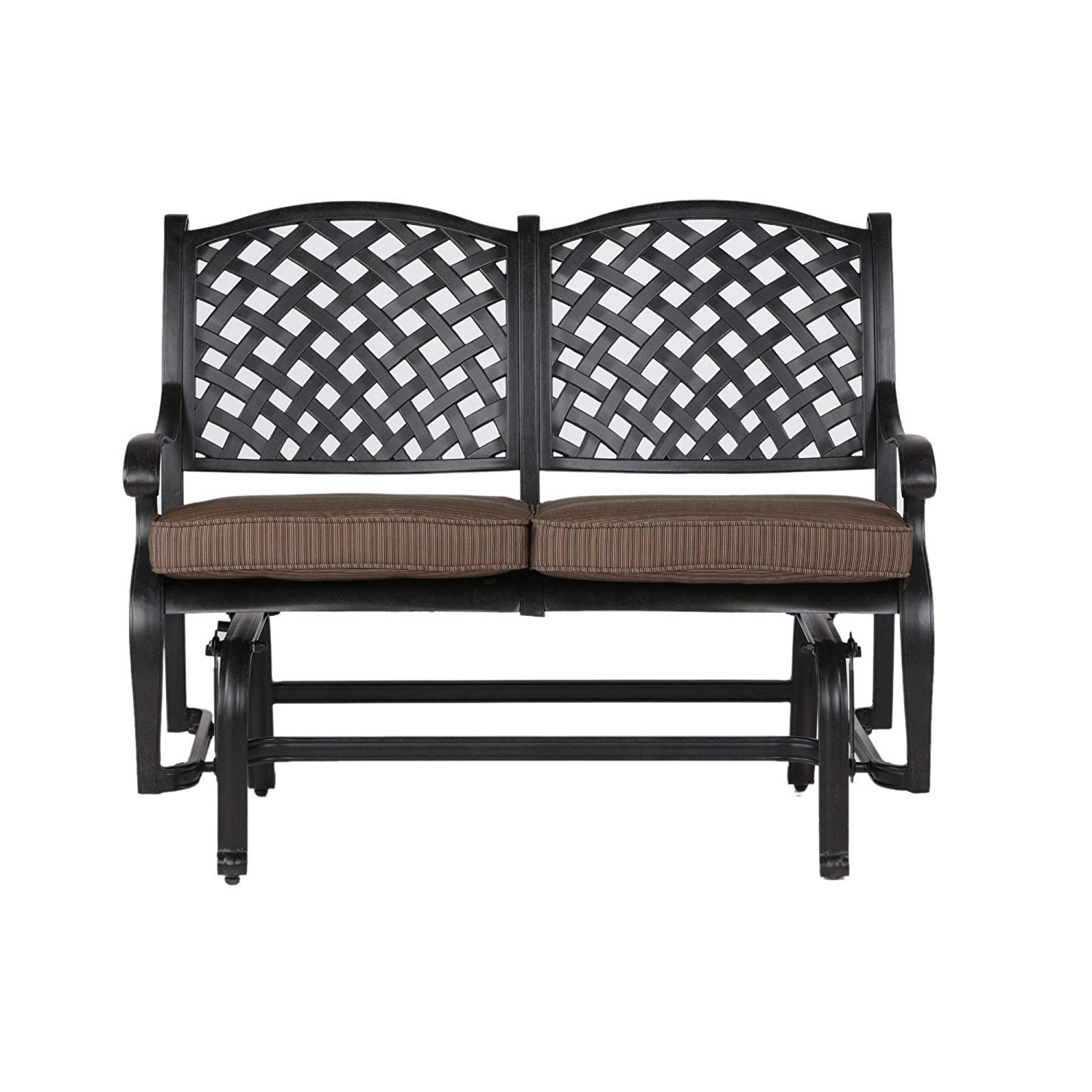 2 Person Antique Black Iron Outdoor Gliders With Regard To Well Liked Amazon: Tourville Outdoor Living Nassau Cast Aluminum (View 3 of 30)