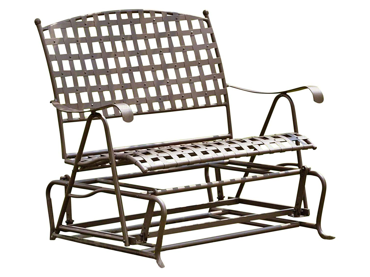 2 Person Antique Black Iron Outdoor Gliders Within Well Known International Caravan, Santa Fe Iron Porch Double Glider Garden Bench (View 11 of 30)