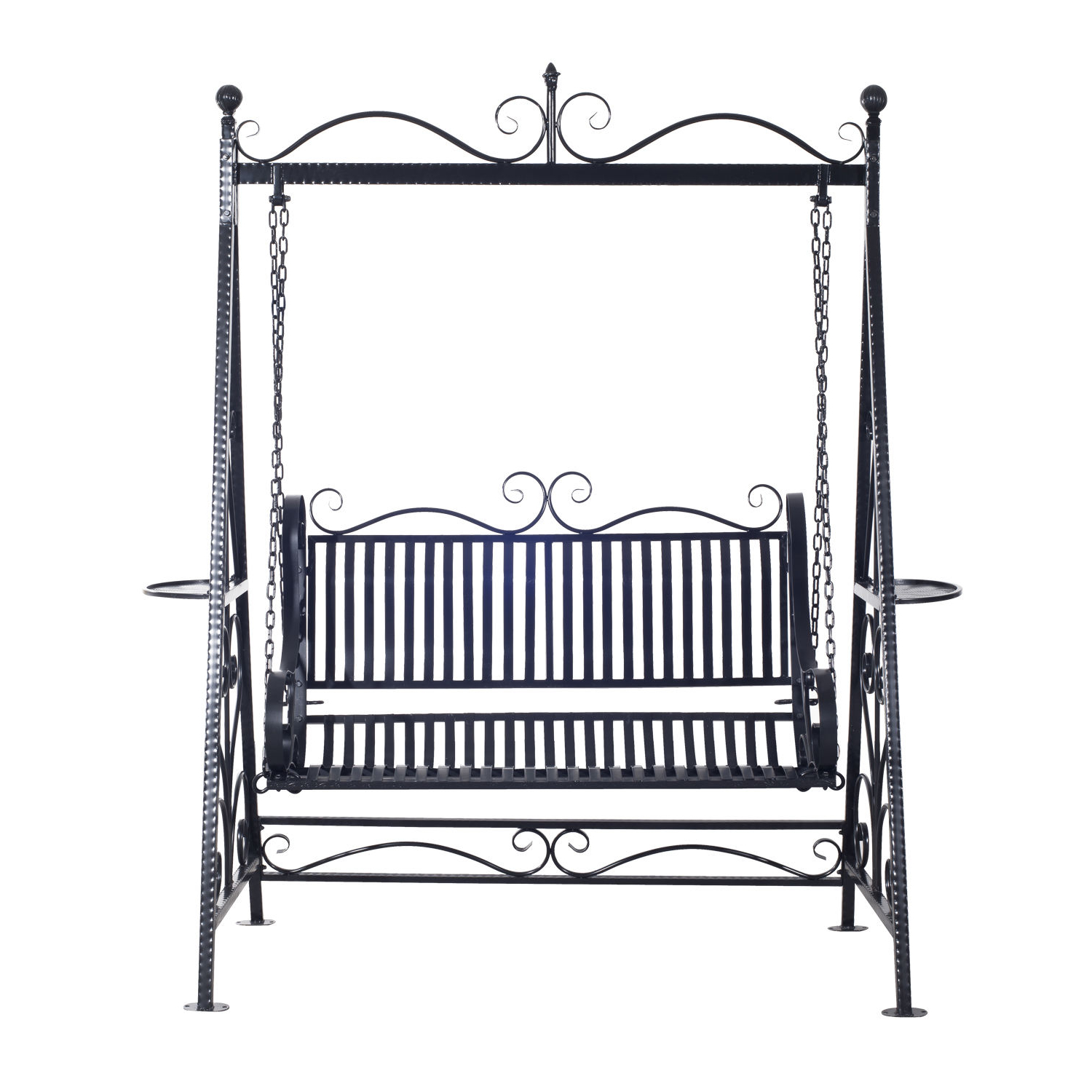 2 Person Antique Black Iron Outdoor Swings Intended For Most Recently Released Outsunny Cast Iron Swing Chair (View 22 of 30)