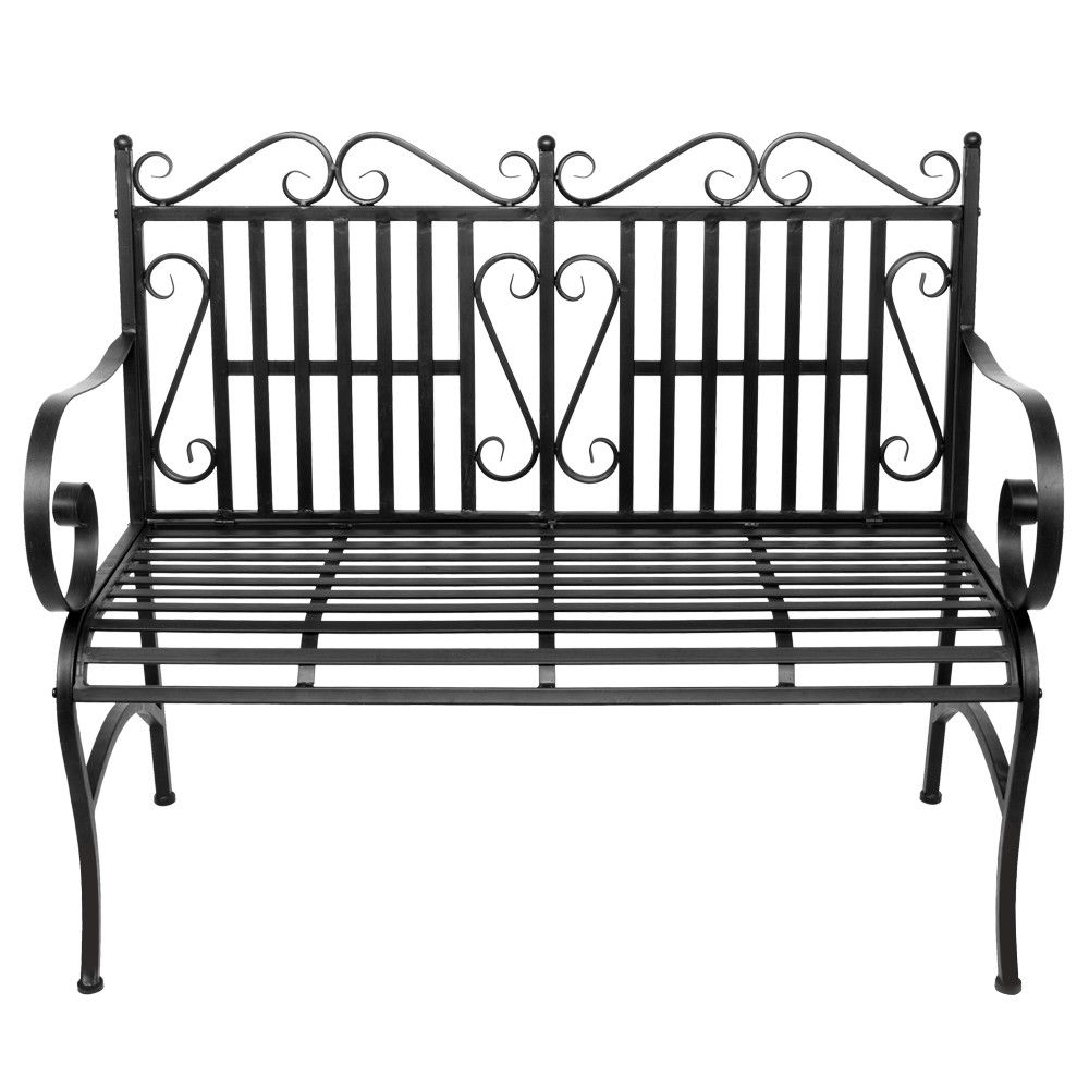 2 Person Antique Black Iron Outdoor Swings Pertaining To Recent Garden Bench Metal Outdoor Patio Furniture Deck Chair Back Yard Iron Porch  Seat (View 4 of 30)