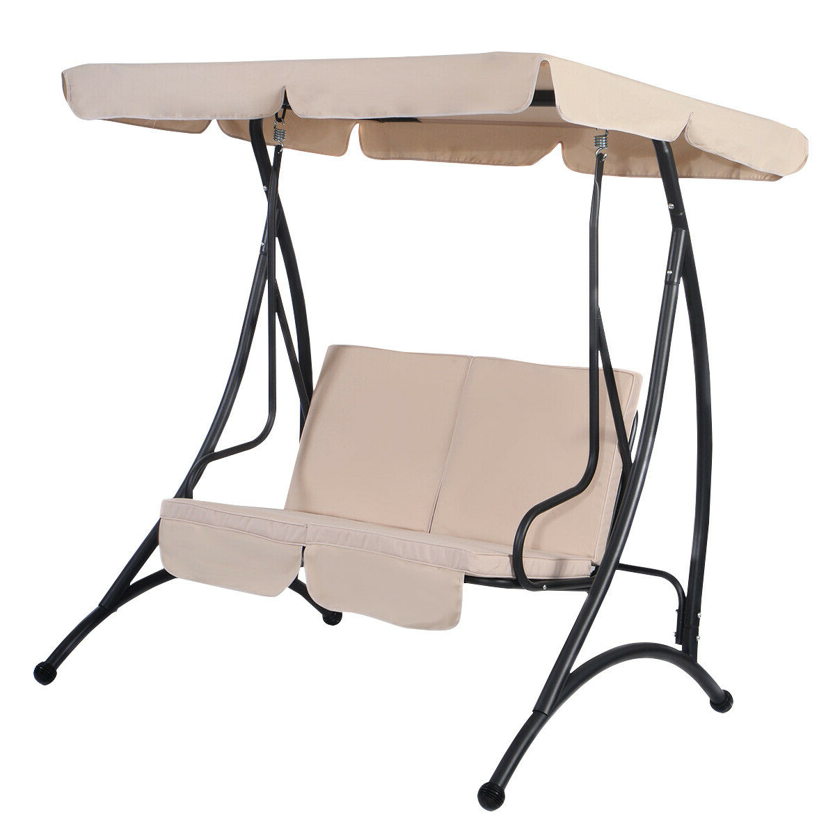 2 Person Black Steel Outdoor Swings With Regard To Latest Costway: Costway Beige 2 Person Canopy Swing Chair Patio (View 5 of 30)