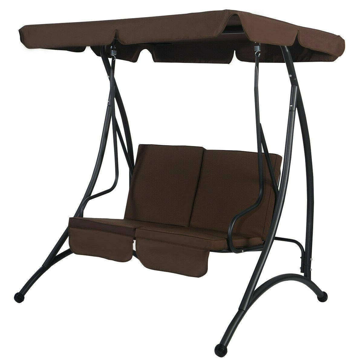 2 Person Black Steel Outdoor Swings Within Current Amazon: Sretan 2 Person Canopy Swing Chair Brown Black (View 7 of 30)