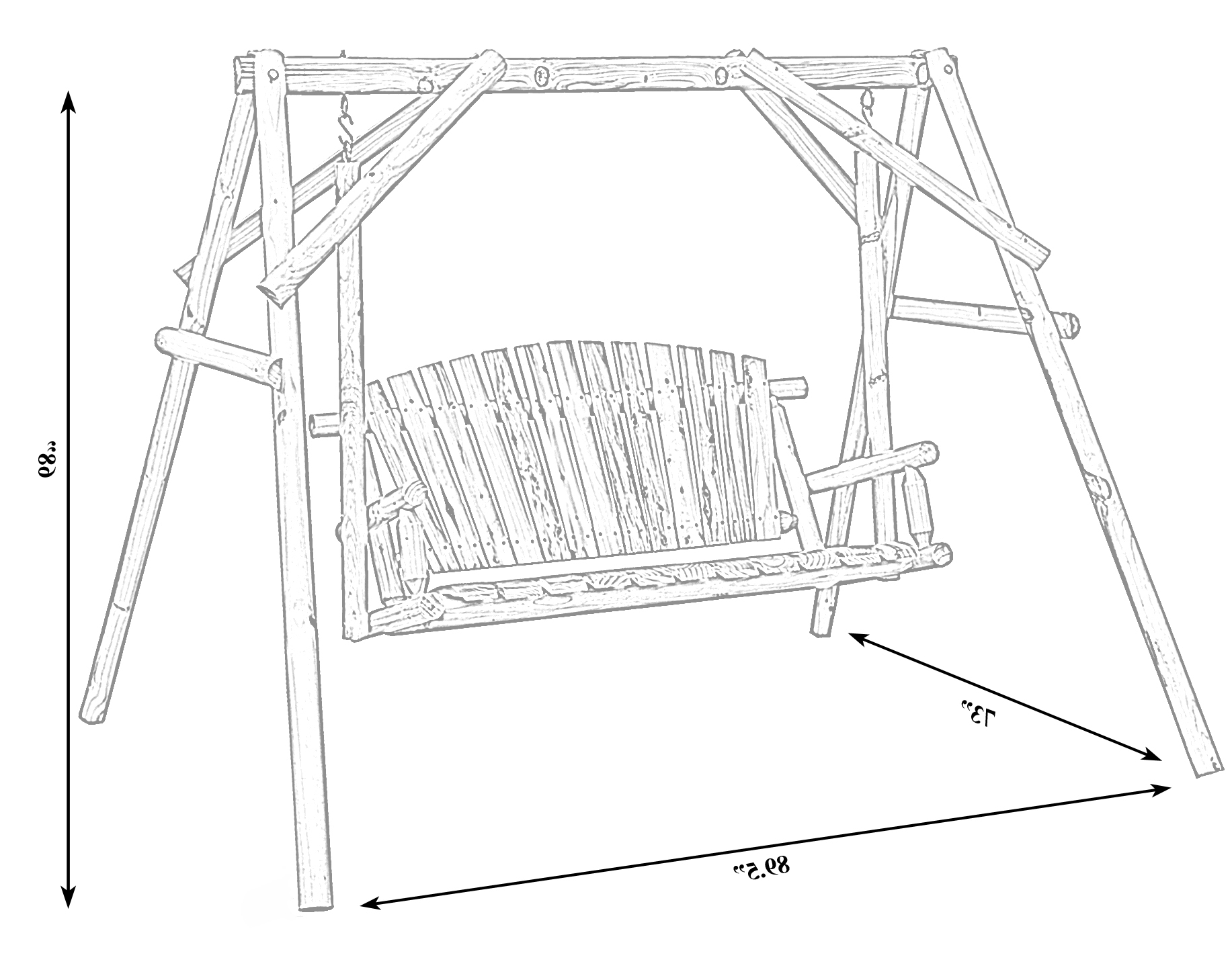 2 Person Black Wood Outdoor Swings Regarding Popular Swing 651355234703 Bench Wooden Wooden Wood Log Patio (View 19 of 30)