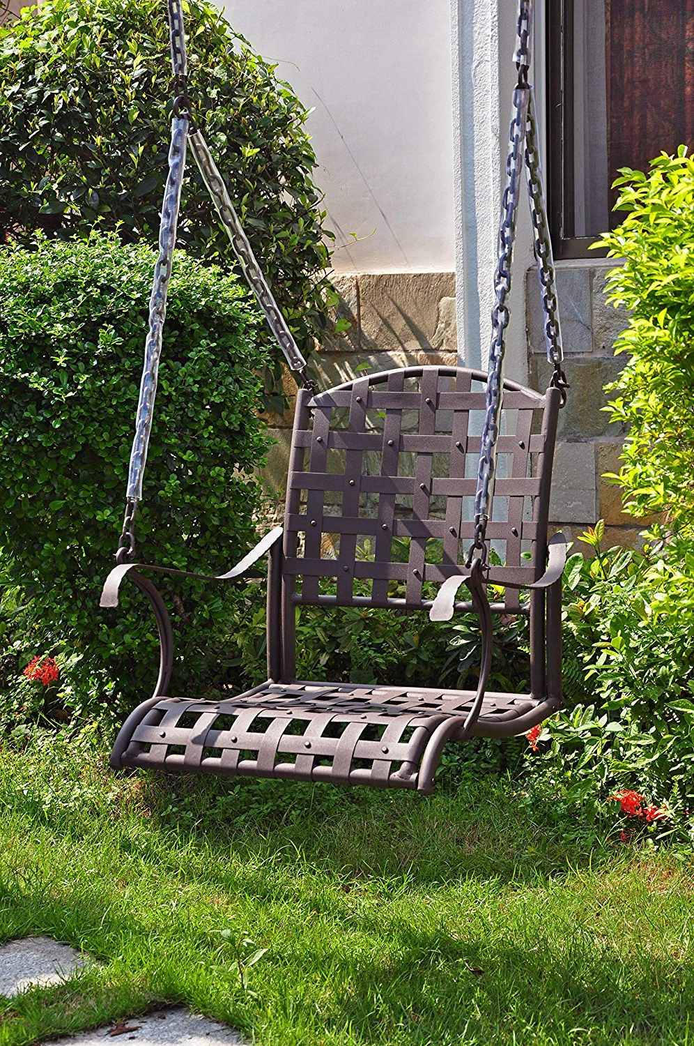 2 Person Hammered Bronze Iron Outdoor Swings Regarding Most Recently Released International Caravan 523772 Og 165266 O 852765 Iron Single Patio Swing Chair, Hammered Bronze (View 9 of 30)