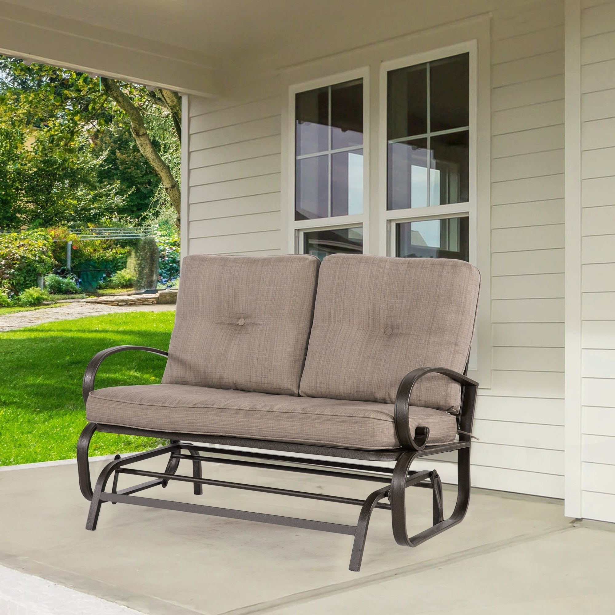 2 Person Loveseat Cushioned Rocking Bench Furniture Patio Swing Rocker Lounge Glider Chair Outdoor Patio, Gradient Brown Regarding Favorite 2 Person Loveseat Chair Patio Porch Swings With Rocker (View 23 of 30)