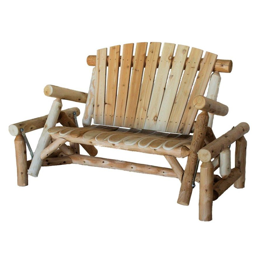 2 Person Natural Cedar Wood Outdoor Gliders Regarding Well Known Porch Swings & Gliders At Lowes (View 11 of 30)