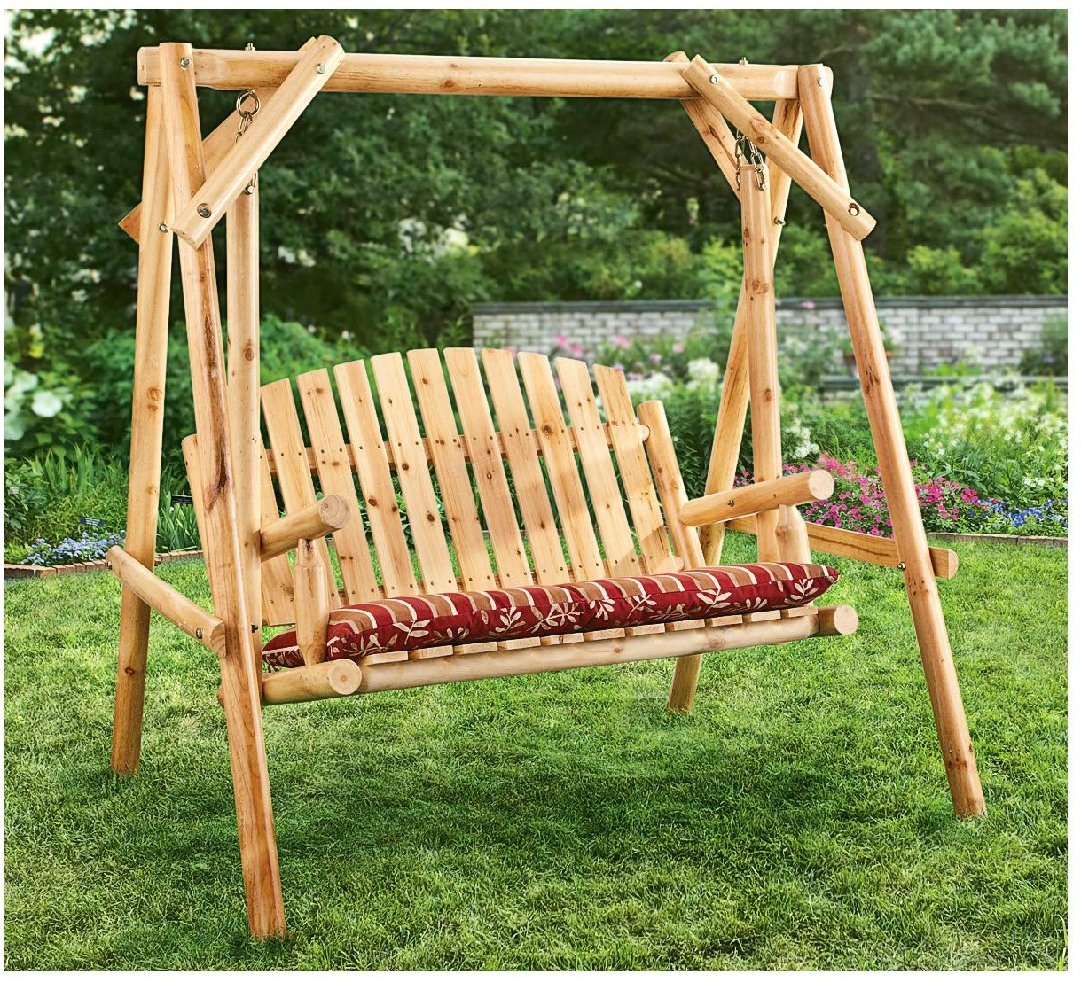 2 Person Natural Cedar Wood Outdoor Swings In Most Popular Castlecreek 4' Log Swing, 2 Person (View 12 of 30)
