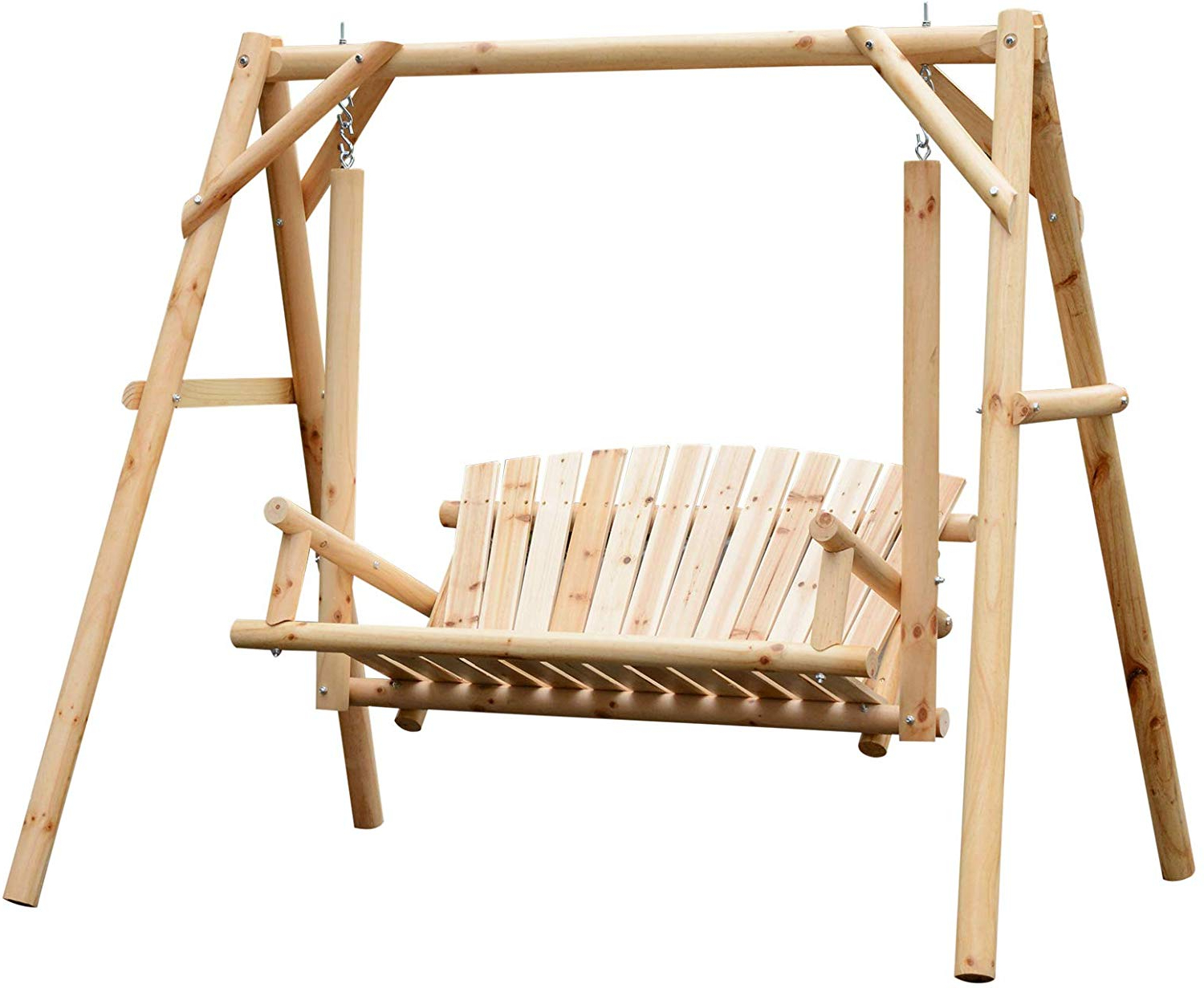 2 Person Natural Cedar Wood Outdoor Swings Inside Well Known Outsunny (View 5 of 30)