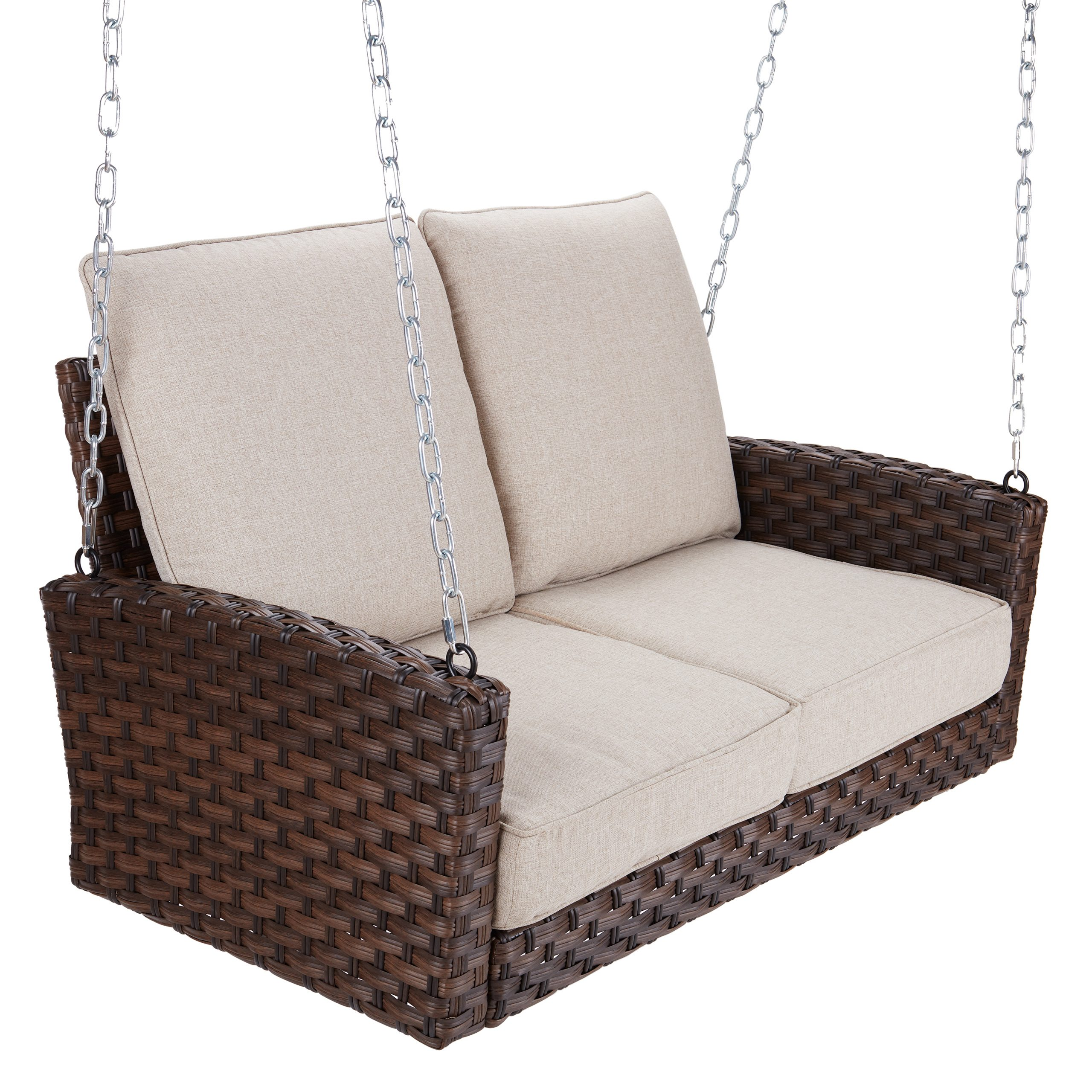 2 Person Outdoor Convertible Canopy Swing Gliders With Removable Cushions Beige For Widely Used Better Homes & Gardens Hensley Outdoor Wicker Porch Swing (View 27 of 30)