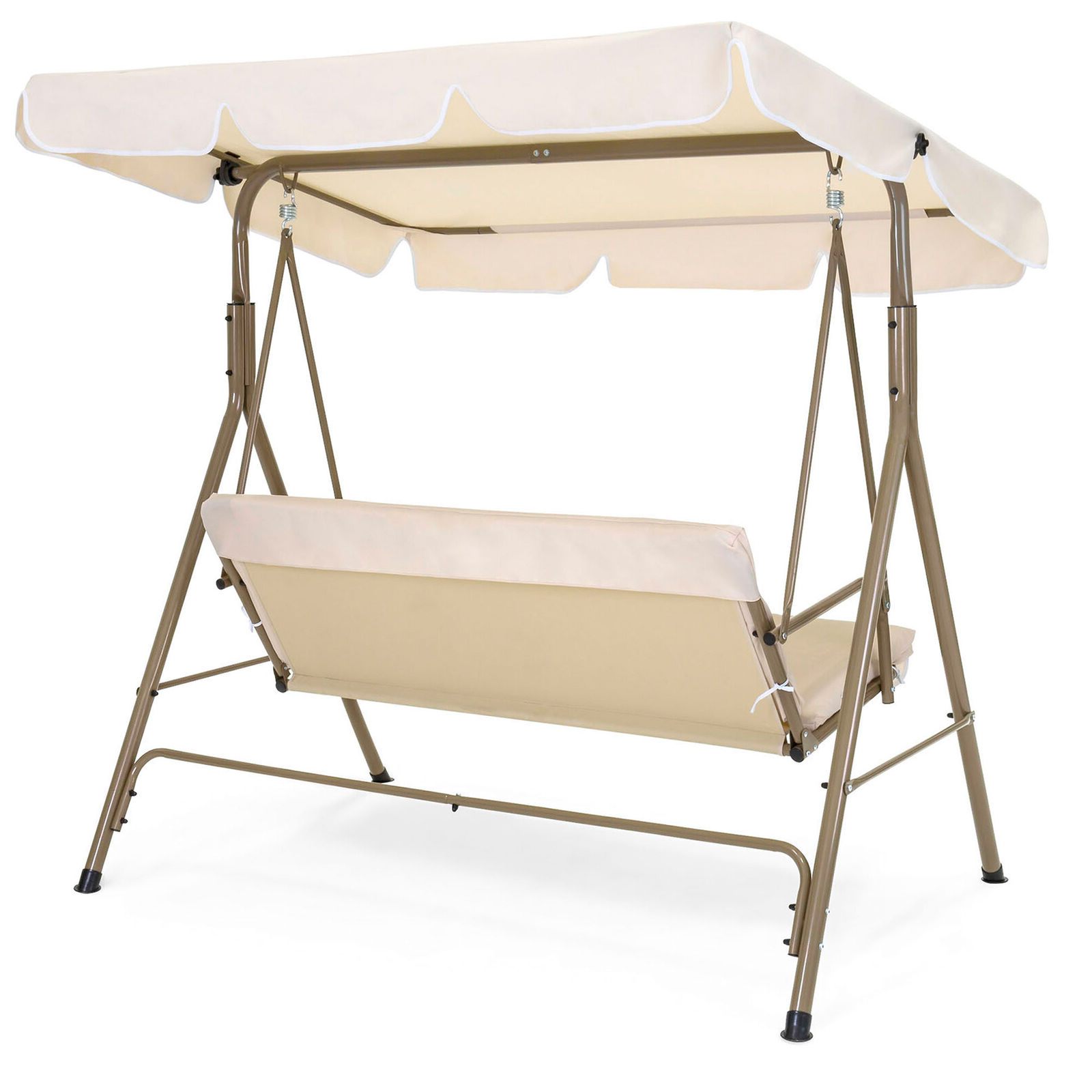 2 Person Outdoor Convertible Canopy Swing Gliders With Removable Cushions Beige With 2019 Best Choice Products Outdoor 2 Person Patio Canopy Swing – Burgundy (View 6 of 30)