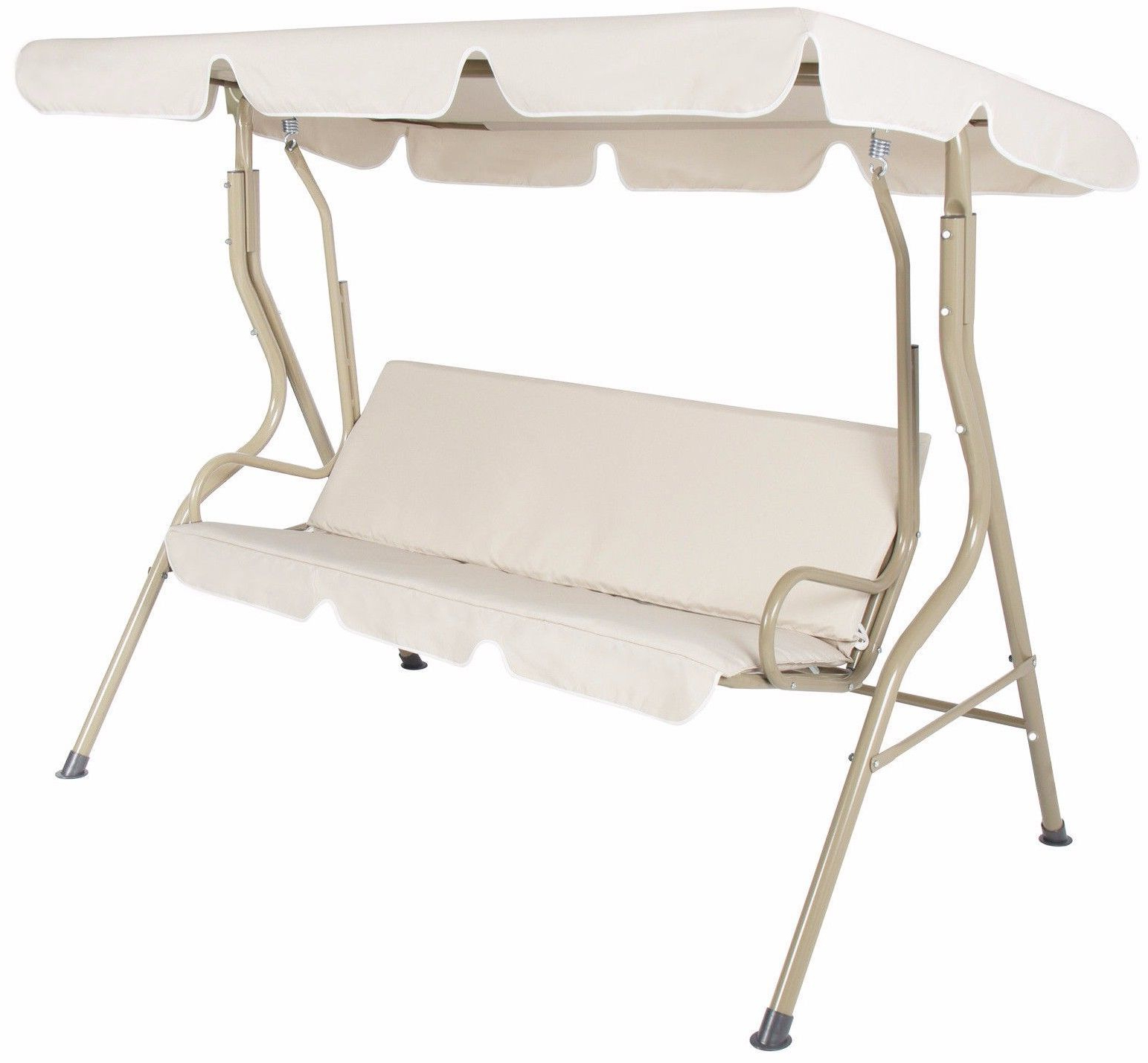 2 Person Outdoor Convertible Canopy Swing Gliders With Removable Cushions Beige Within Newest Outdoor 2 Person Canopy Swing Glider Hammock Patio Furniture (View 12 of 30)