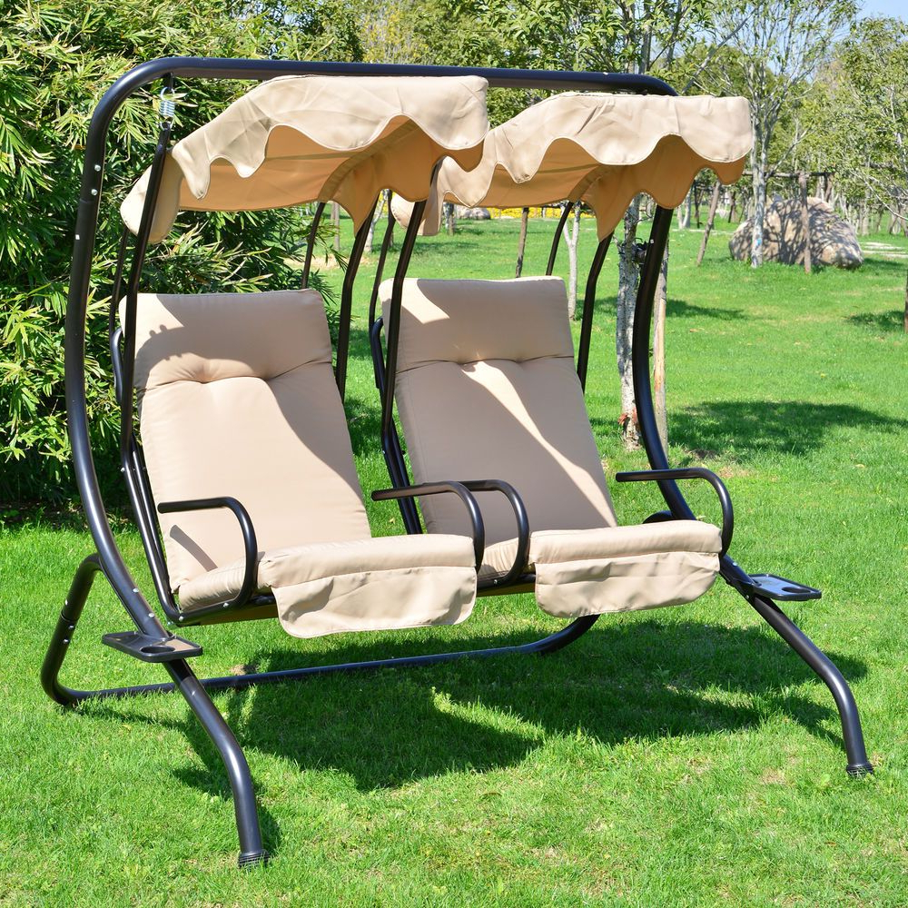 2 Person Outdoor Swing Seat Patio Hammock Furniture Bench Inside Latest 2 Person Hammock Porch Swing Patio Outdoor Hanging Loveseat Canopy Glider Swings (View 5 of 30)