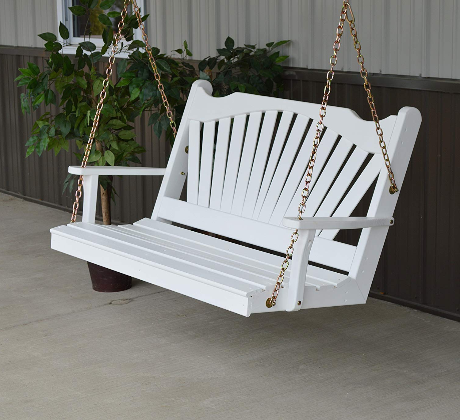 2 Person White Wood Outdoor Swings With Regard To Well Known Aspen Tree Interiors Wood Porch Swing, 2 Person Swings Patio Front Porches, Usa Amish Made Outdoor Furniture, Fun Swinging Bench Outside Furnishings – (View 11 of 30)
