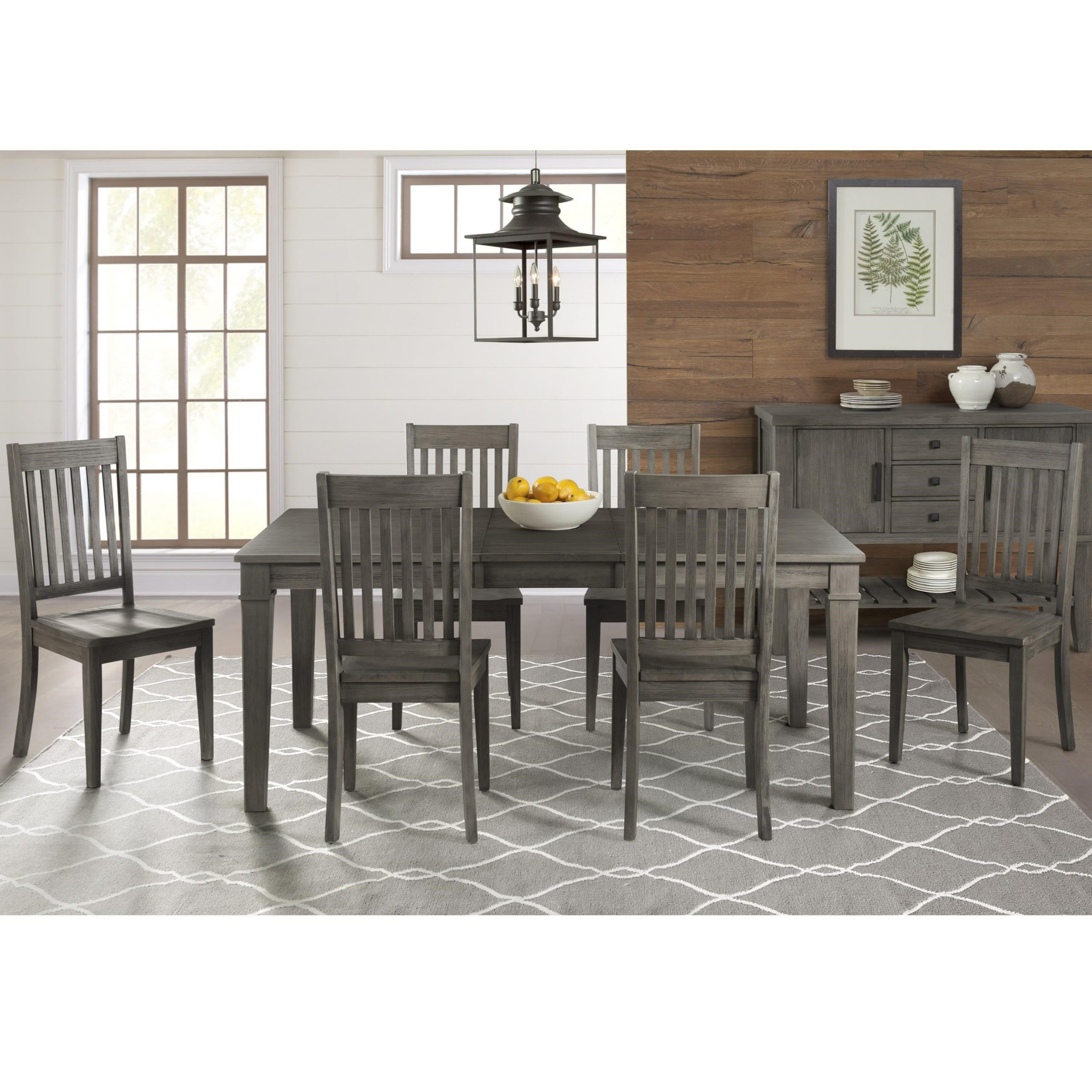 2017 Aamerica Huron 7 Piece Transitional Table And Slat Back Regarding Transitional 6 Seating Casual Dining Tables (View 17 of 30)