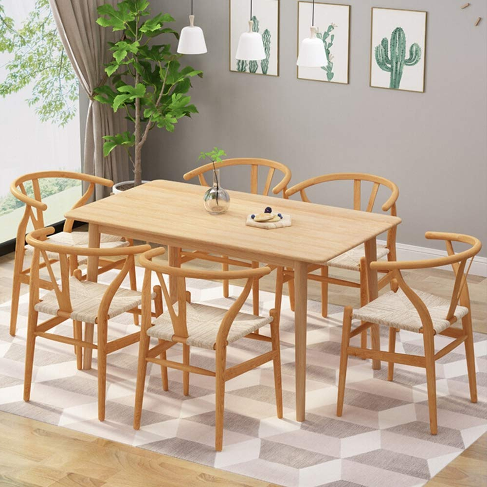 2017 Amazon – Home Dining Desk Oak Solid Wood Dining Table With Contemporary 4 Seating Oblong Dining Tables (View 11 of 30)