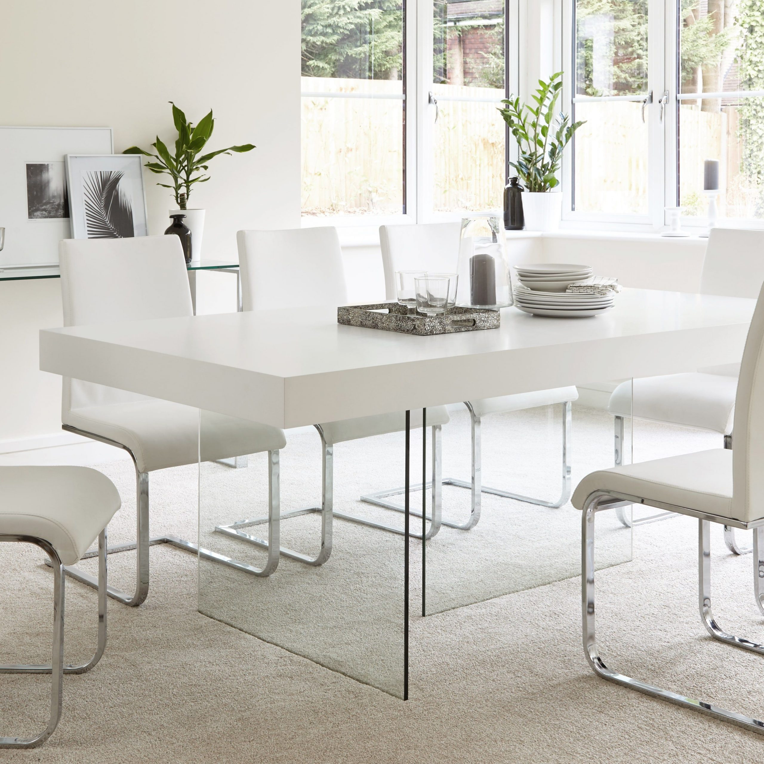 2017 Chrome Contemporary Square Casual Dining Tables With Aria White Oak And Glass Dining Table (View 5 of 30)
