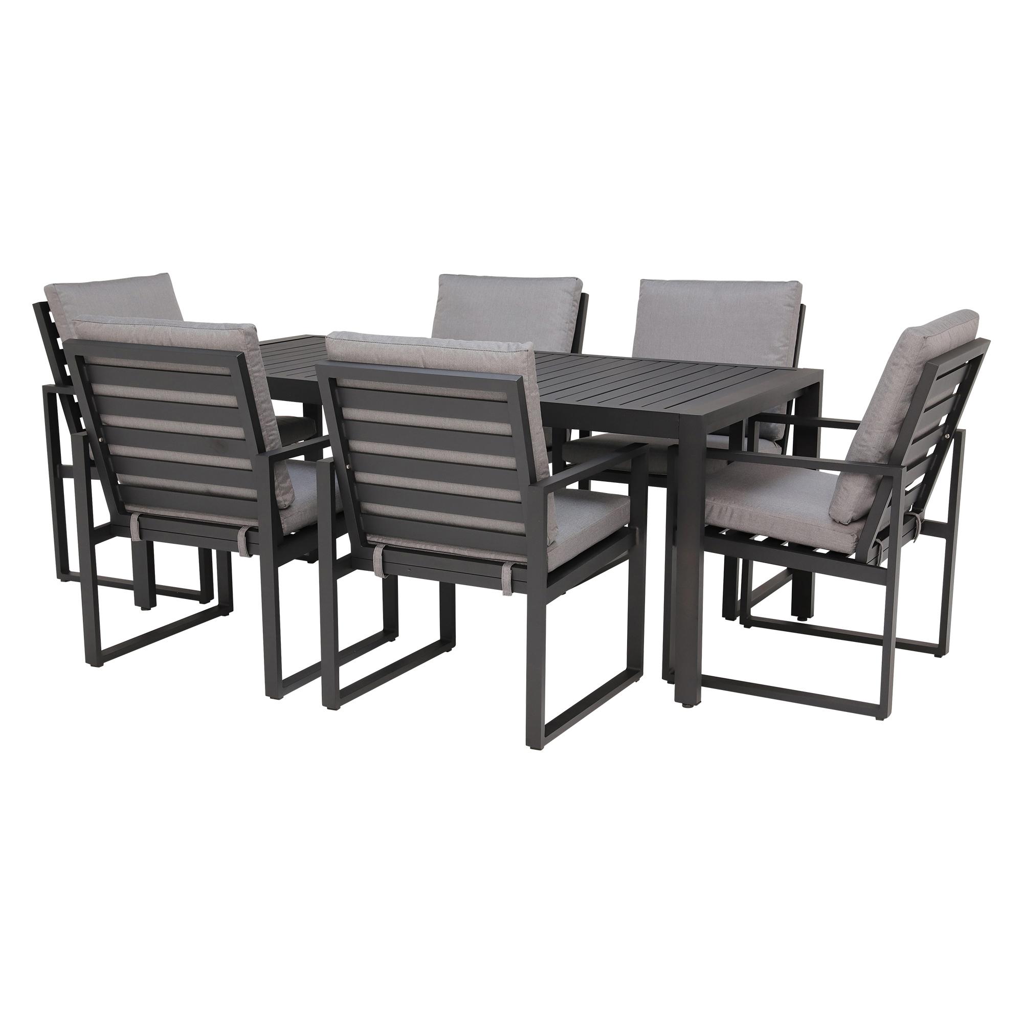 2017 Contemporary 6 Seating Rectangular Dining Tables Regarding Rufolo 6 Seat Garden Dining Set, Black & Grey – Barker & Stonehouse (View 16 of 30)