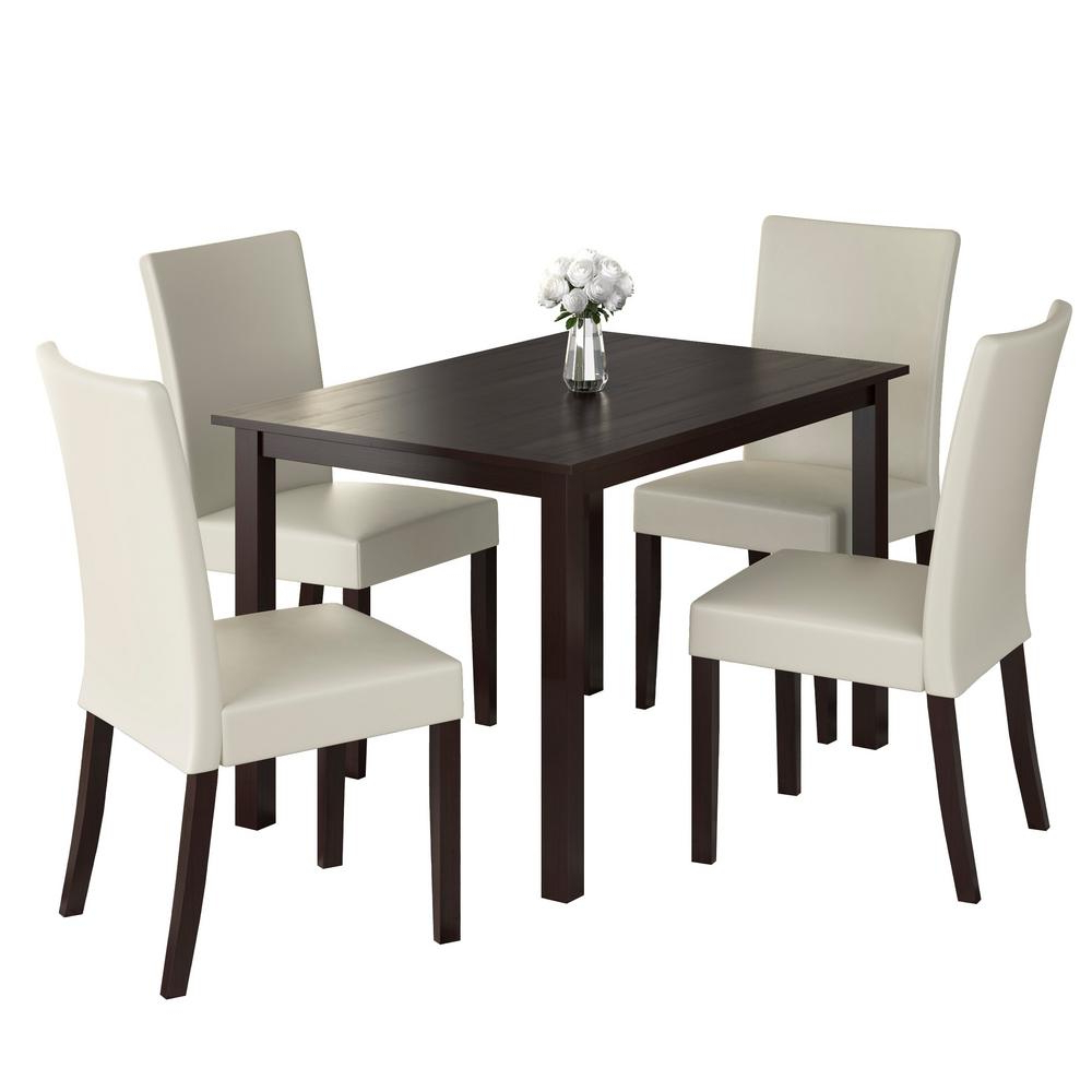 2017 Corliving Atwood 5 Piece Dining Set With Cream Leatherette For Atwood Transitional Rectangular Dining Tables (View 18 of 30)