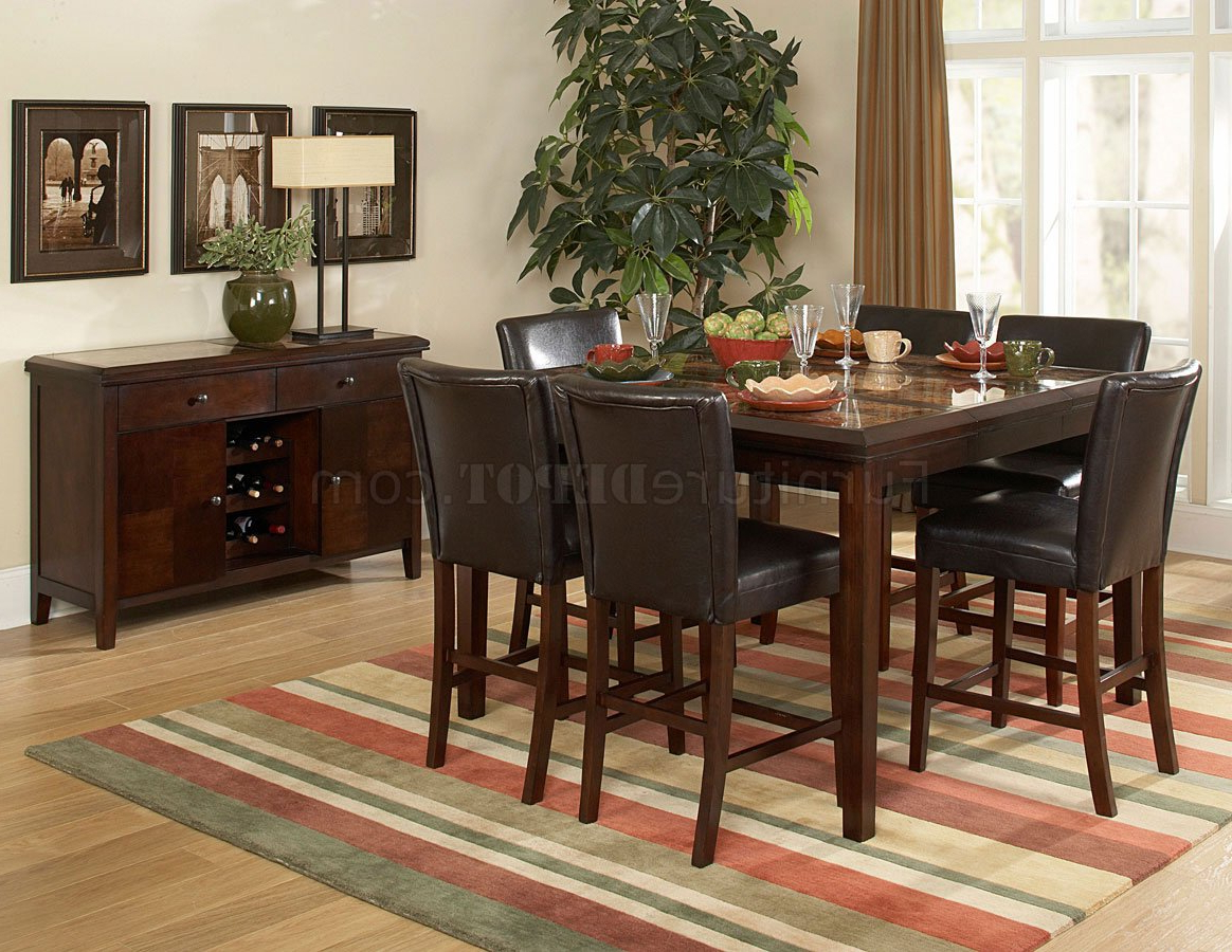 2017 Espresso Finish Wood Classic Design Dining Tables Within Espresso Classic Counter Height Dining Table W/faux Marble Top (View 1 of 30)