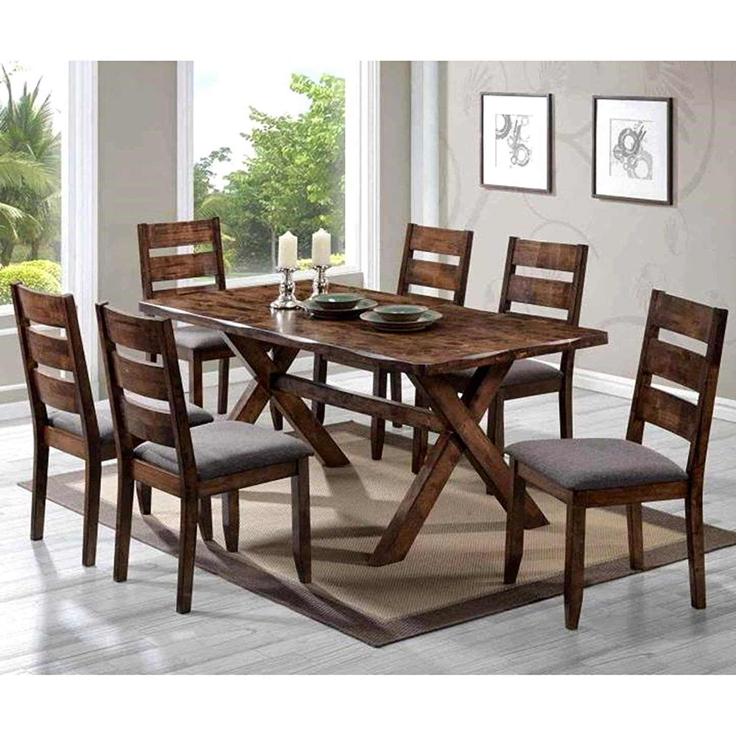 2017 Large Rustic Look Dining Tables For Amazon – A Line Furniture Milano Rustic Knotty Shaped (View 21 of 30)